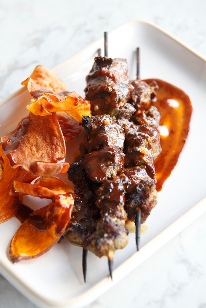 Marinated lamb skewers with sweet and spicy dipping sauce 2