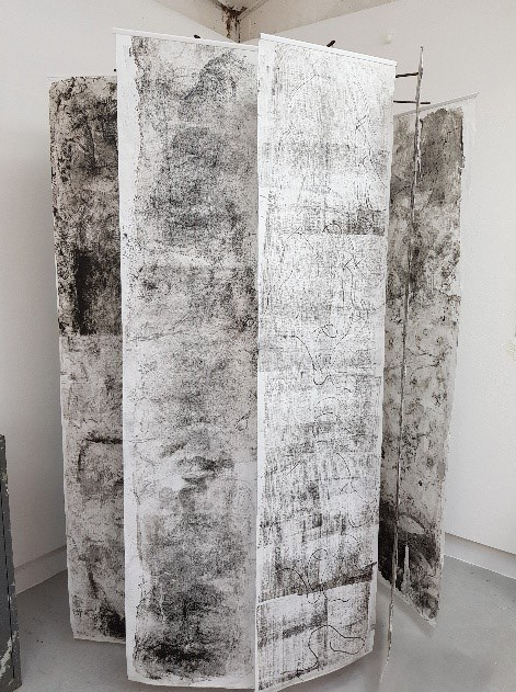 Eleanor Roche, (2018) Cotton House 1, plastic pole, metal stand, Hosho paper, oil-based printing ink, motor, 120 x 213 cm.