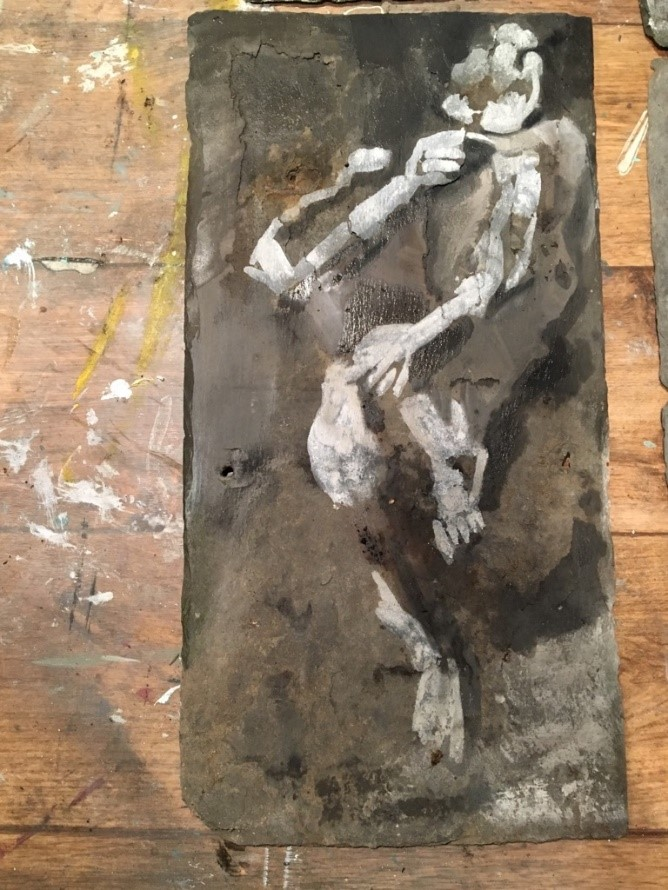 Juliet Duckworth, (2019) Bogman 1, acrylic paint on slate, 45 x 22cm